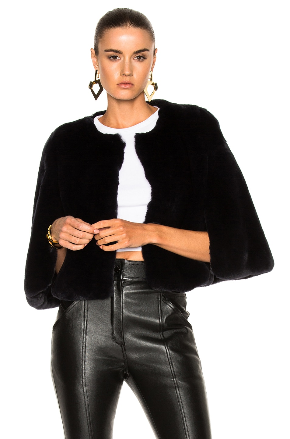 Image 1 of Yves Salomon Rex Cropped Jacket in Eclipse