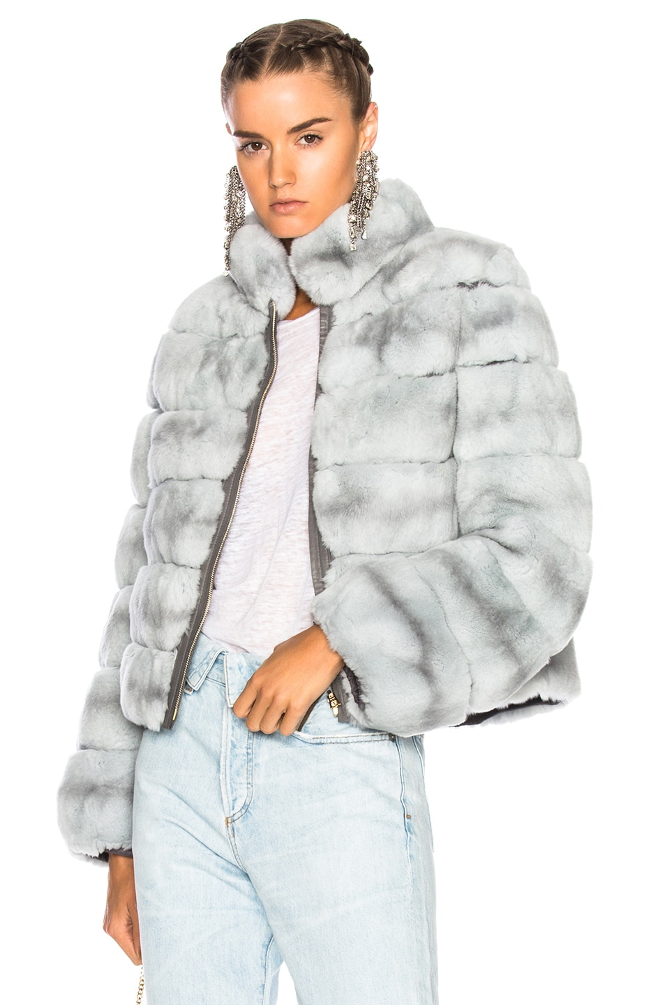Image 1 of Yves Salomon Rex Fur Jacket in Fusain & Cloud Blue