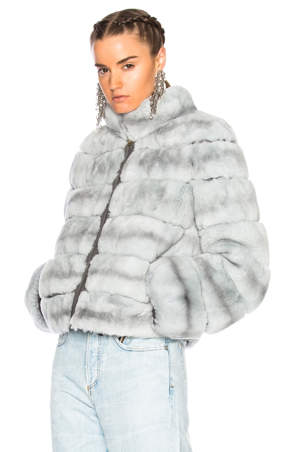 Image 2 of Yves Salomon Rex Fur Jacket in Fusain & Cloud Blue