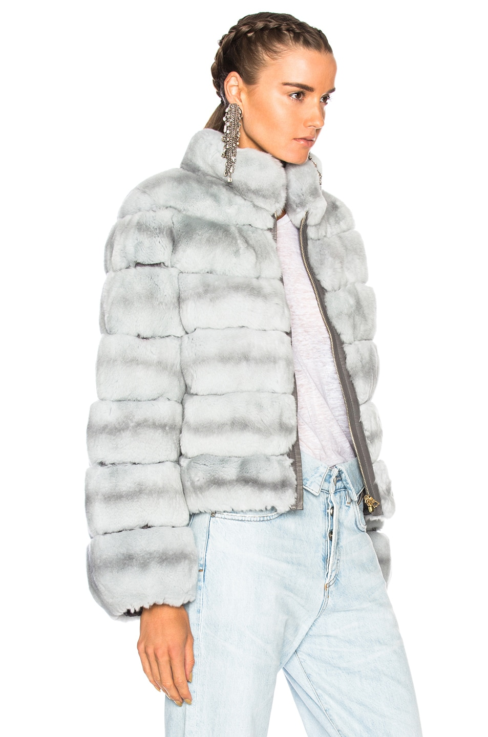 Image 3 of Yves Salomon Rex Fur Jacket in Fusain & Cloud Blue