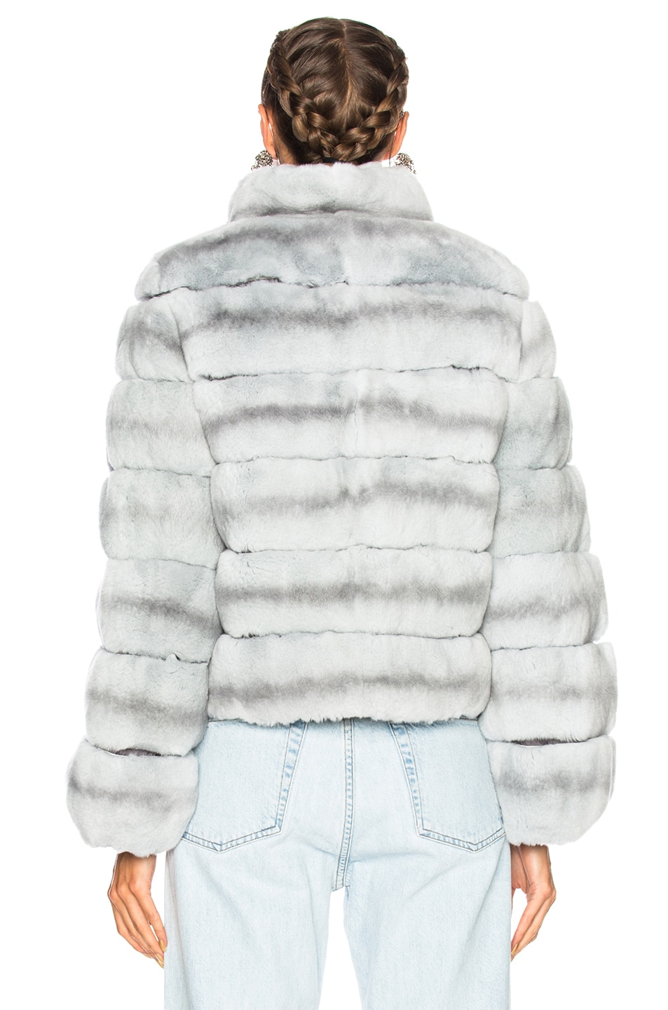 Image 4 of Yves Salomon Rex Fur Jacket in Fusain & Cloud Blue