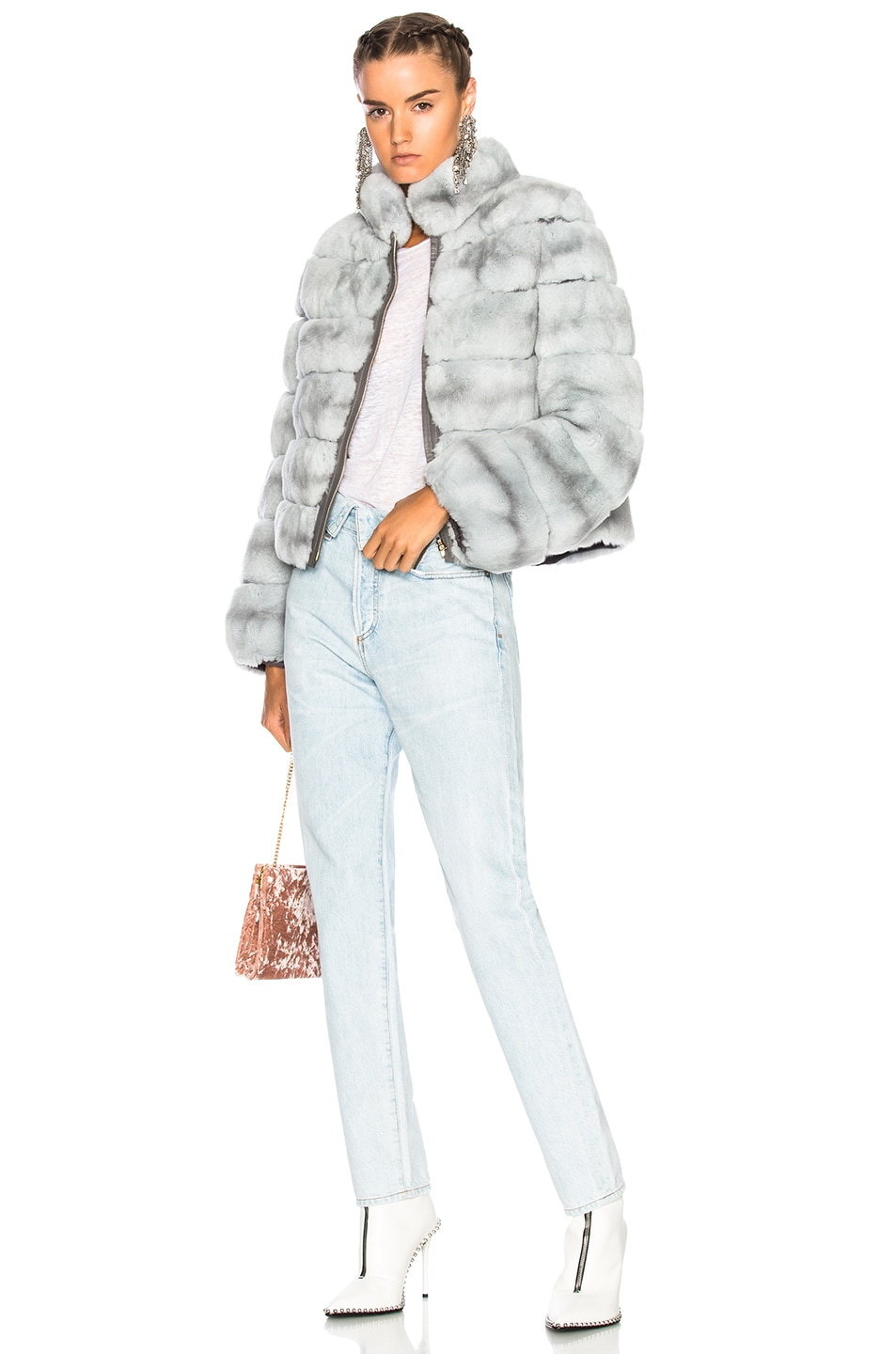 Image 5 of Yves Salomon Rex Fur Jacket in Fusain & Cloud Blue