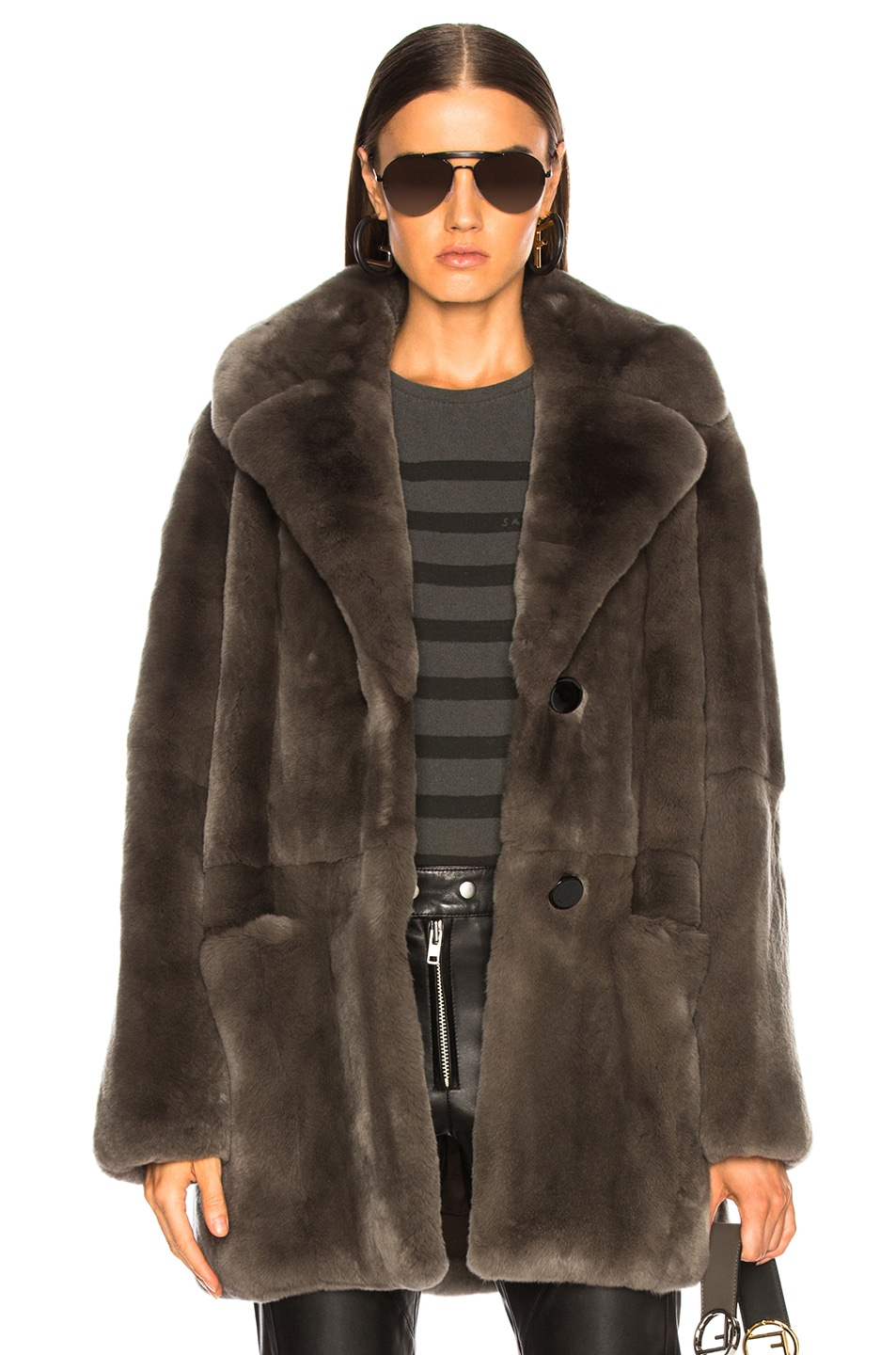 Image 1 of Yves Salomon Rex Rabbit Fur Coat in Brume