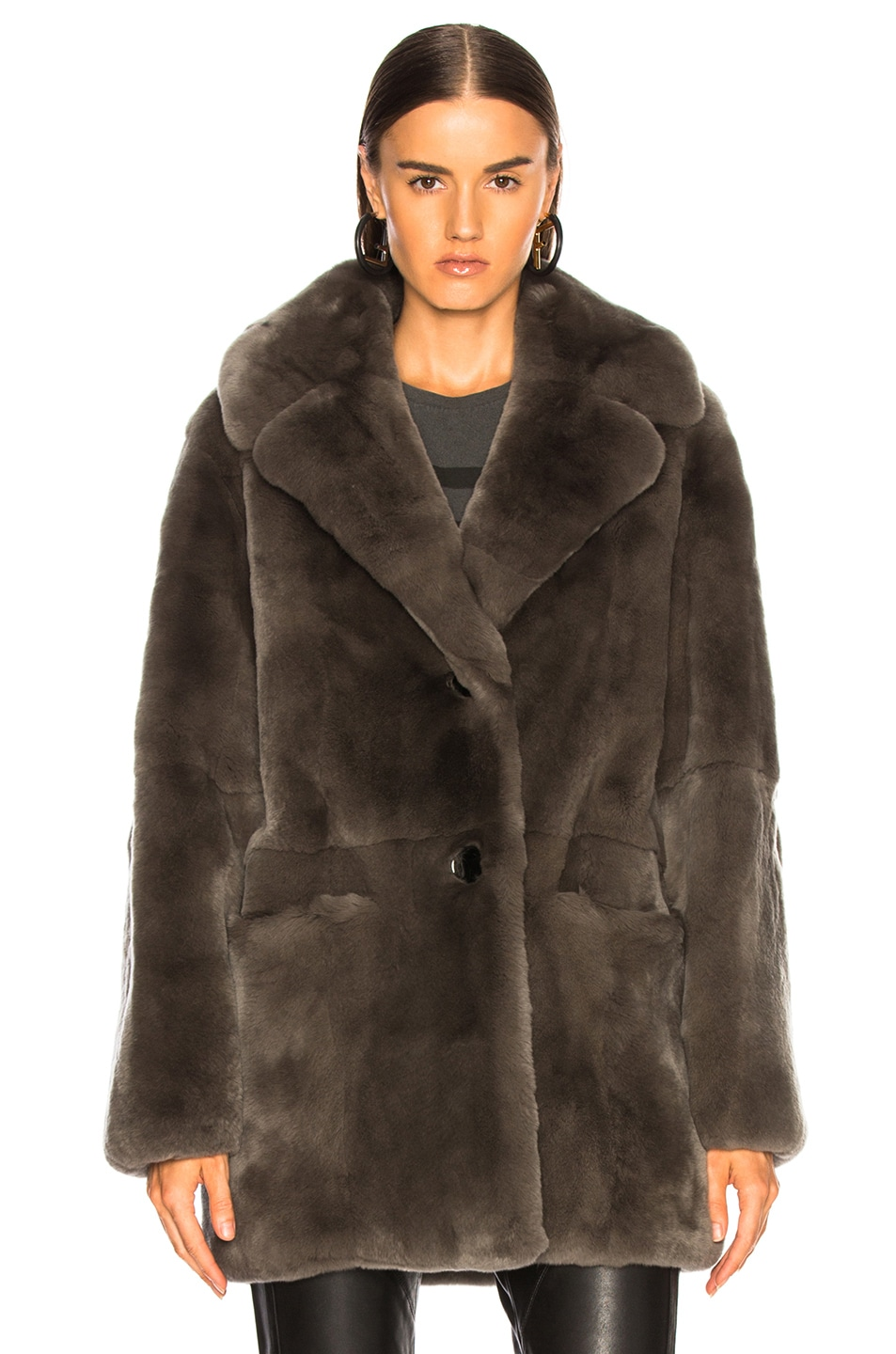 Image 2 of Yves Salomon Rex Rabbit Fur Coat in Brume