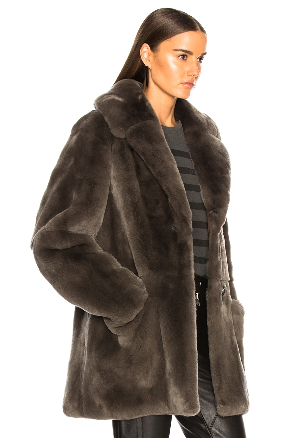 Image 3 of Yves Salomon Rex Rabbit Fur Coat in Brume