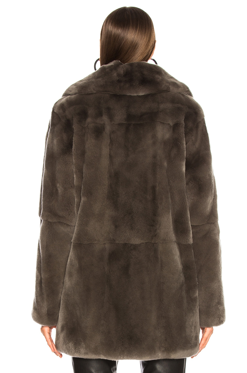 Image 4 of Yves Salomon Rex Rabbit Fur Coat in Brume