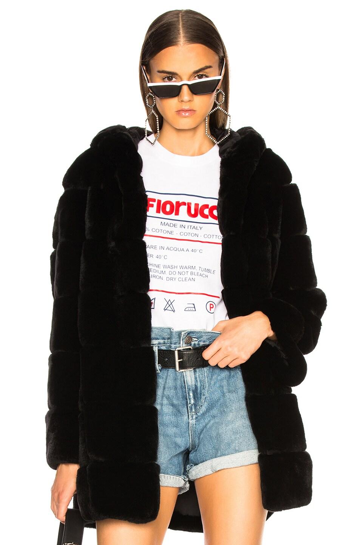 Image 1 of Yves Salomon Rex Rabbit Fur Coat in Noir