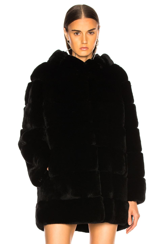 Image 2 of Yves Salomon Rex Rabbit Fur Coat in Noir