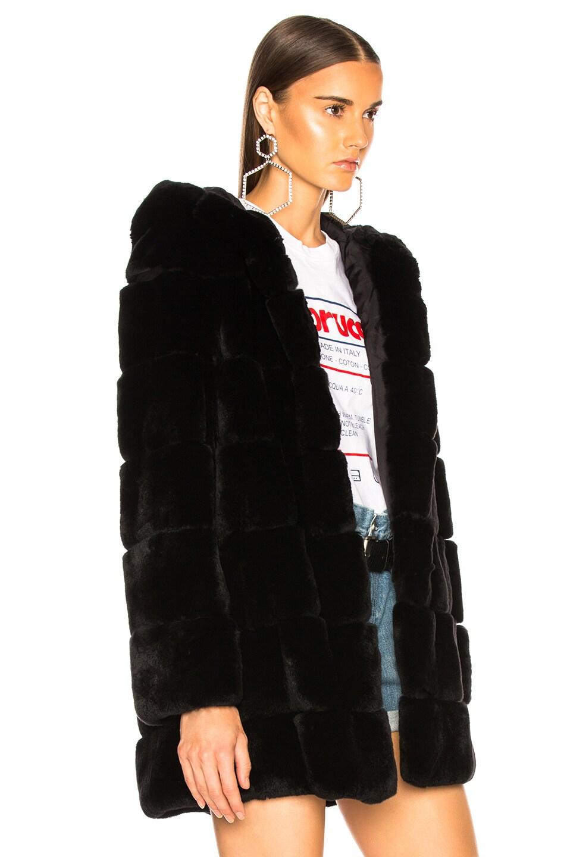 Image 3 of Yves Salomon Rex Rabbit Fur Coat in Noir