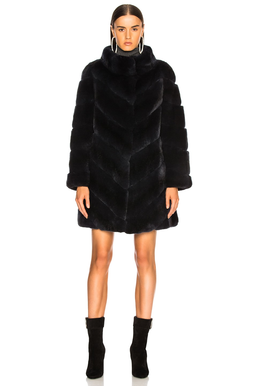 Image 2 of Yves Salomon Rex Rabbit Fur Coat in Eclipse