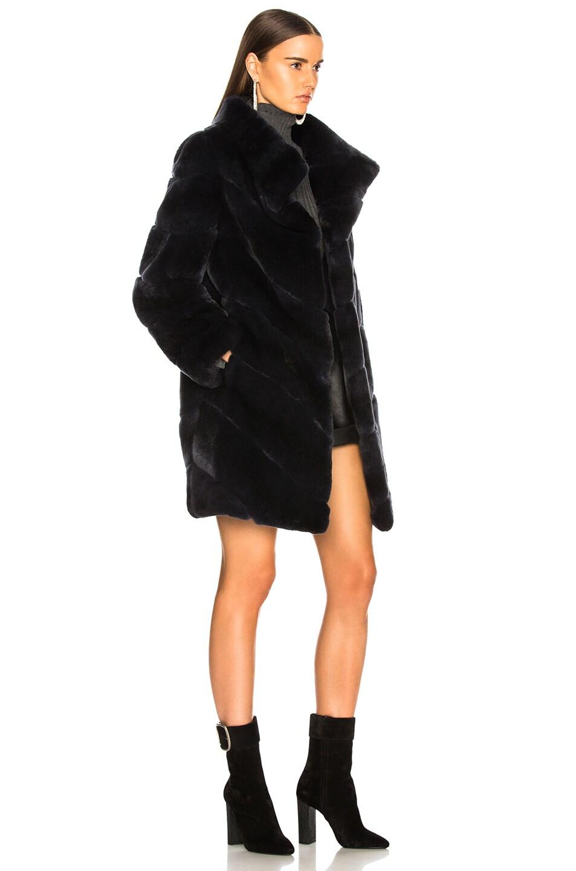 Image 3 of Yves Salomon Rex Rabbit Fur Coat in Eclipse