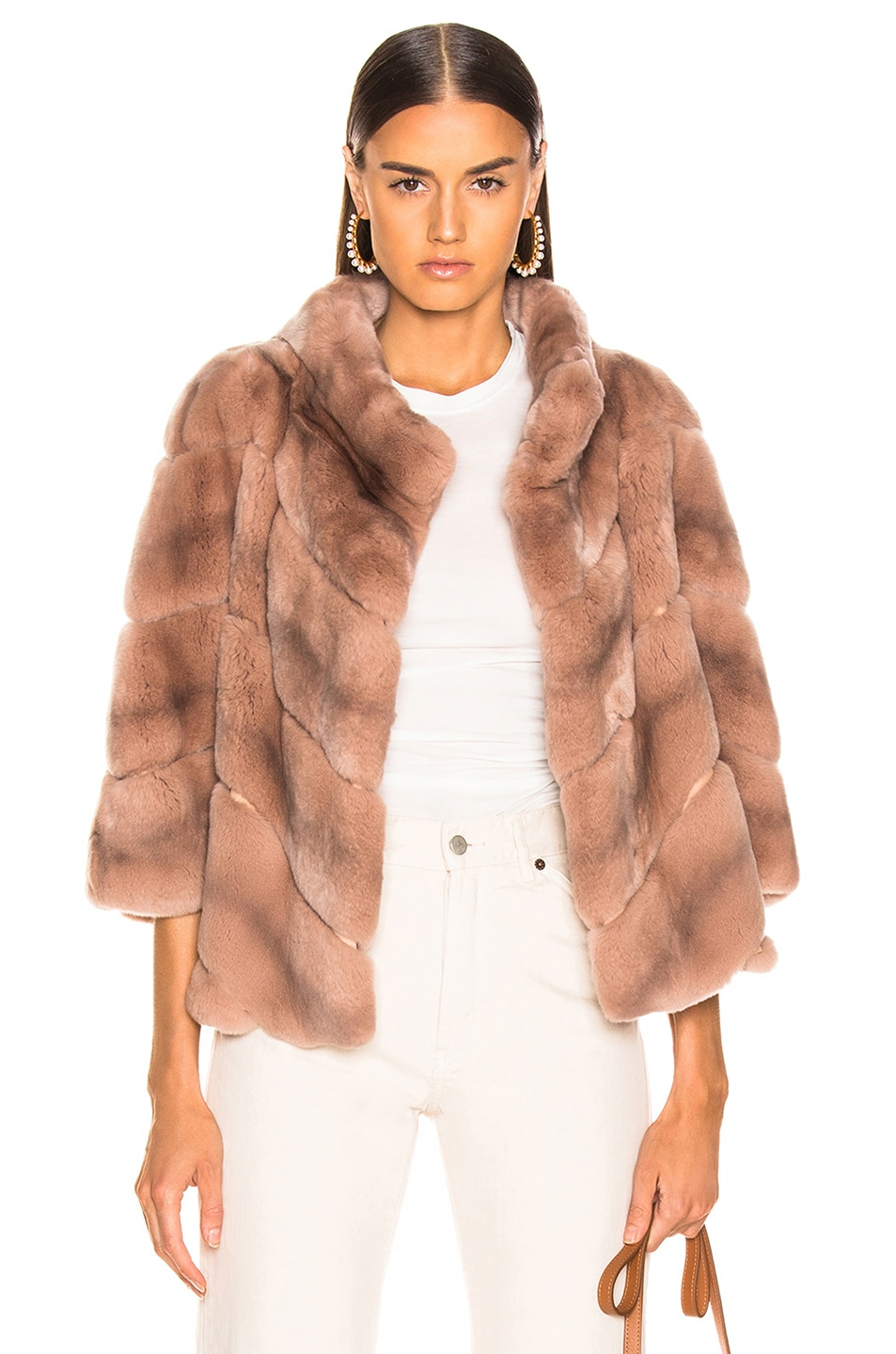 Image 1 of Yves Salomon Rex Rabbit Fur Jacket in Cache Coeur