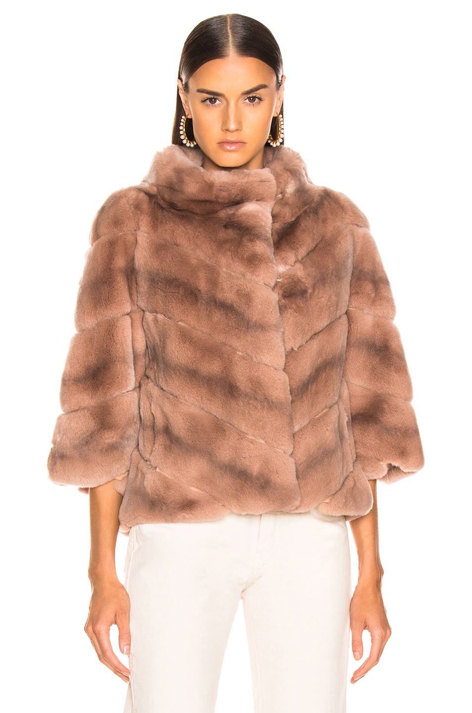 Image 2 of Yves Salomon Rex Rabbit Fur Jacket in Cache Coeur