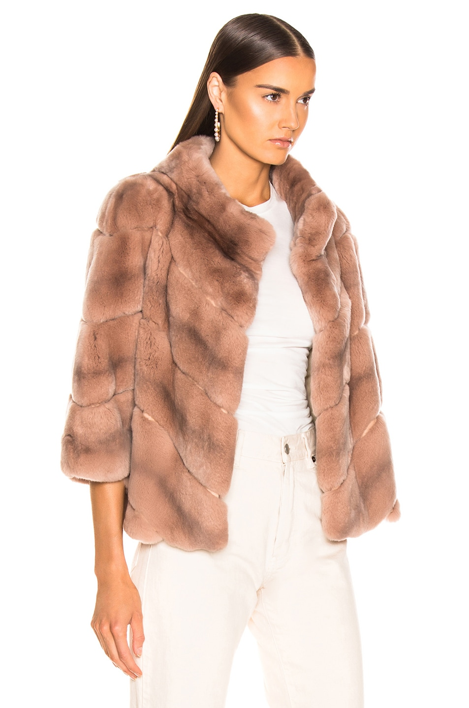 Image 3 of Yves Salomon Rex Rabbit Fur Jacket in Cache Coeur