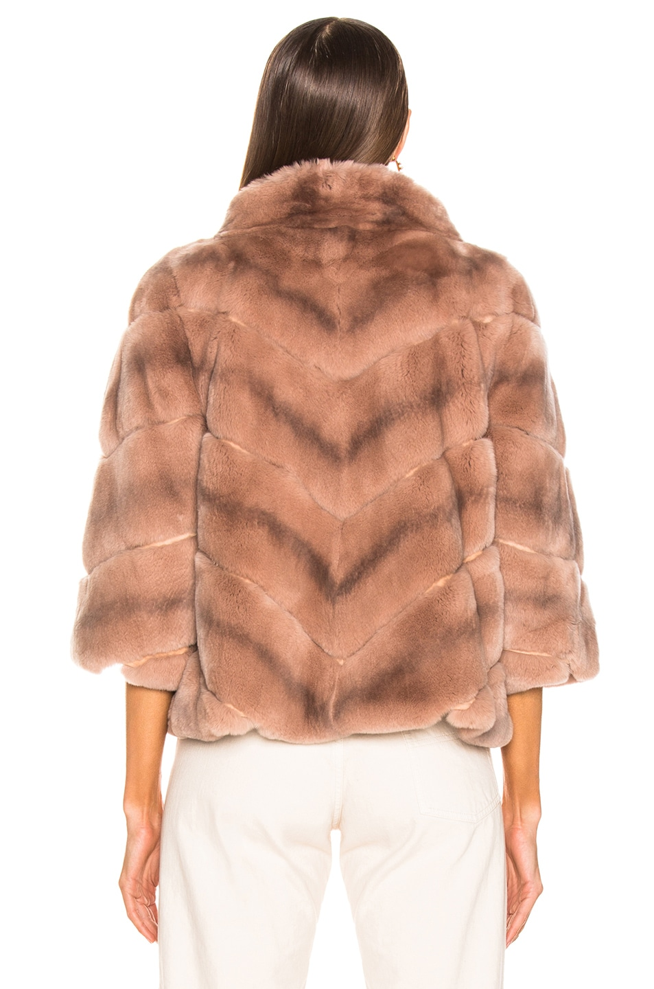 Image 4 of Yves Salomon Rex Rabbit Fur Jacket in Cache Coeur