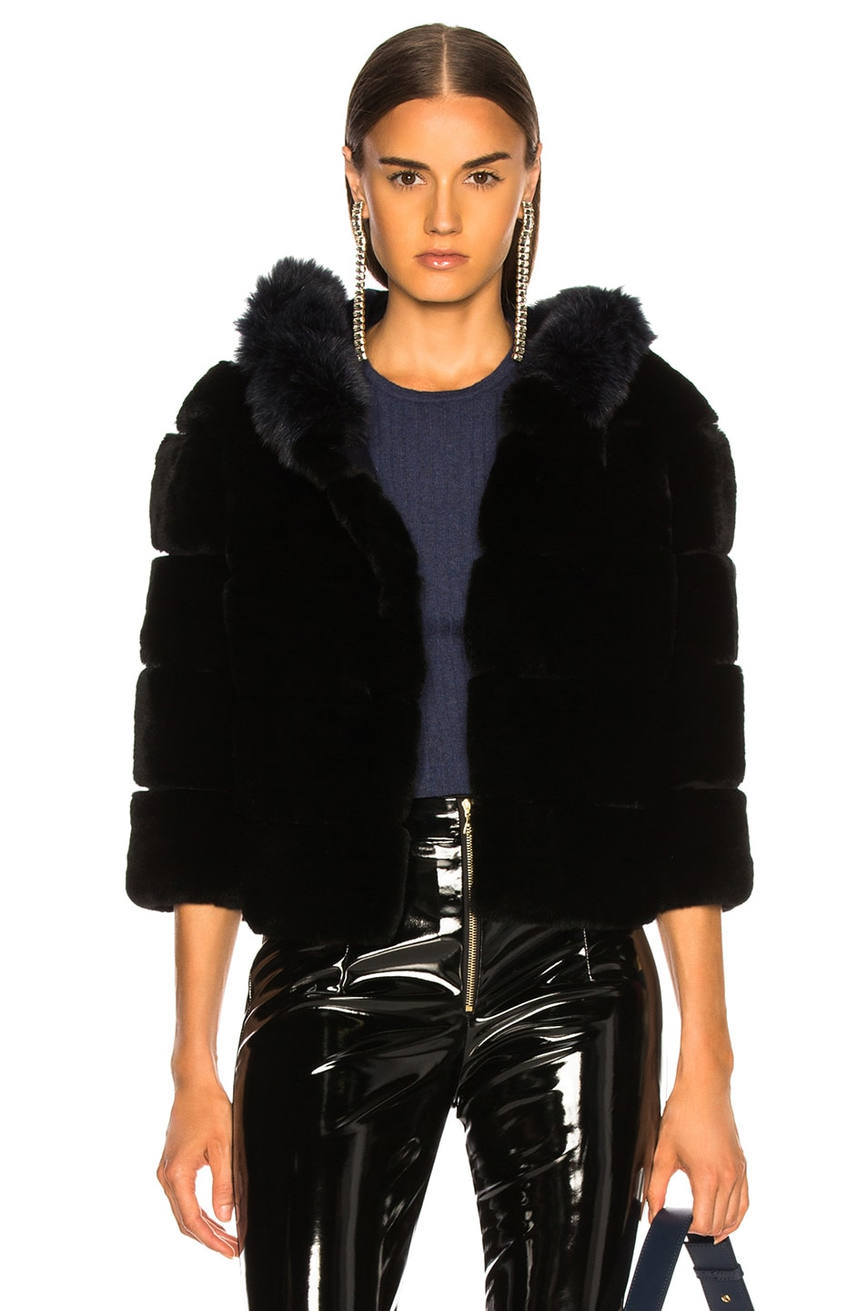 Image 1 of Yves Salomon Hooded Fur Jacket in Eclipse & Noir