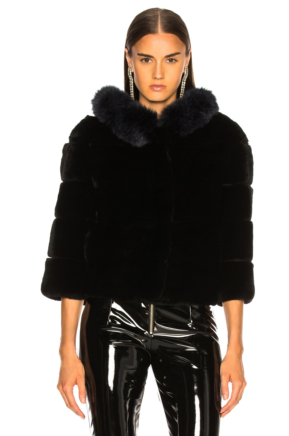 Image 2 of Yves Salomon Hooded Fur Jacket in Eclipse & Noir