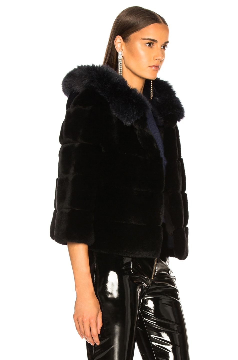 Image 3 of Yves Salomon Hooded Fur Jacket in Eclipse & Noir