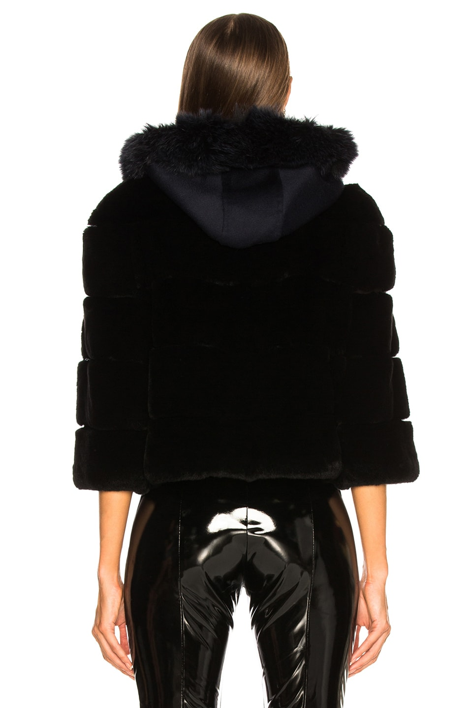 Image 4 of Yves Salomon Hooded Fur Jacket in Eclipse & Noir