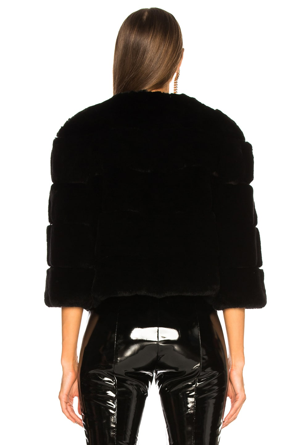 Image 5 of Yves Salomon Hooded Fur Jacket in Eclipse & Noir