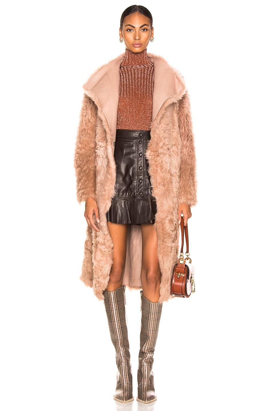 Image 1 of Yves Salomon Curly Toscana Leather Coat in Cache Coeur