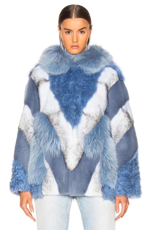 Image 2 of Yves Salomon Lamb, Fox & Mink Fur Toscana Jacket in Riviera