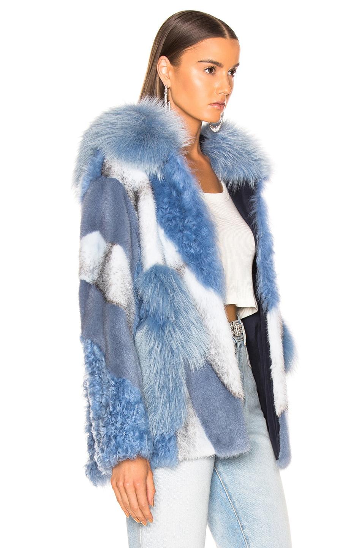 Image 3 of Yves Salomon Lamb, Fox & Mink Fur Toscana Jacket in Riviera