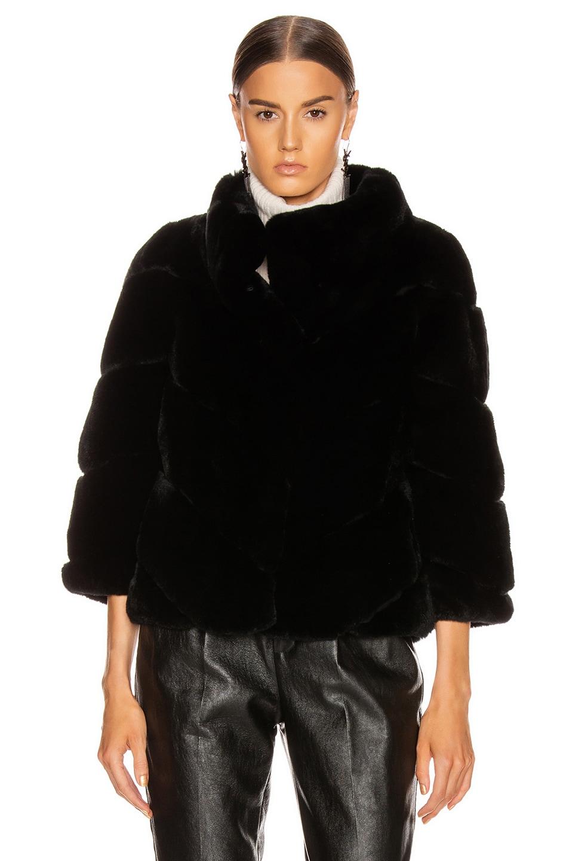 Image 2 of Yves Salomon Real Rex Rabbit Jacket in Noir