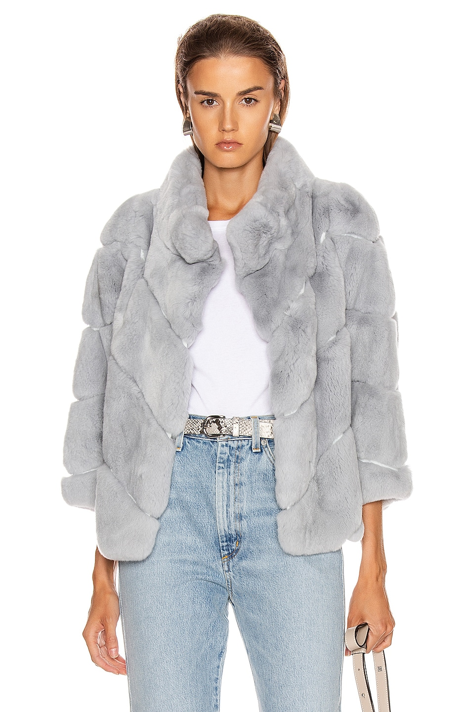 Image 1 of Yves Salomon Rex Rabbit Fur Jacket in Sky