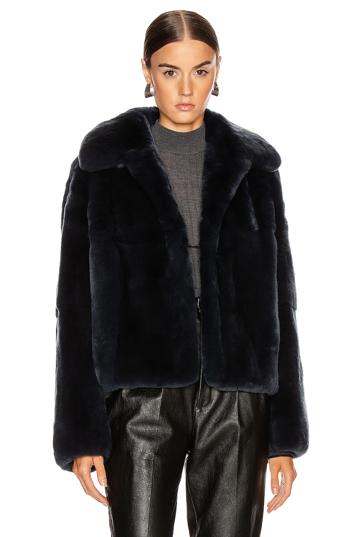 Image 1 of Yves Salomon Rex Rabbit Jacket in Minuit