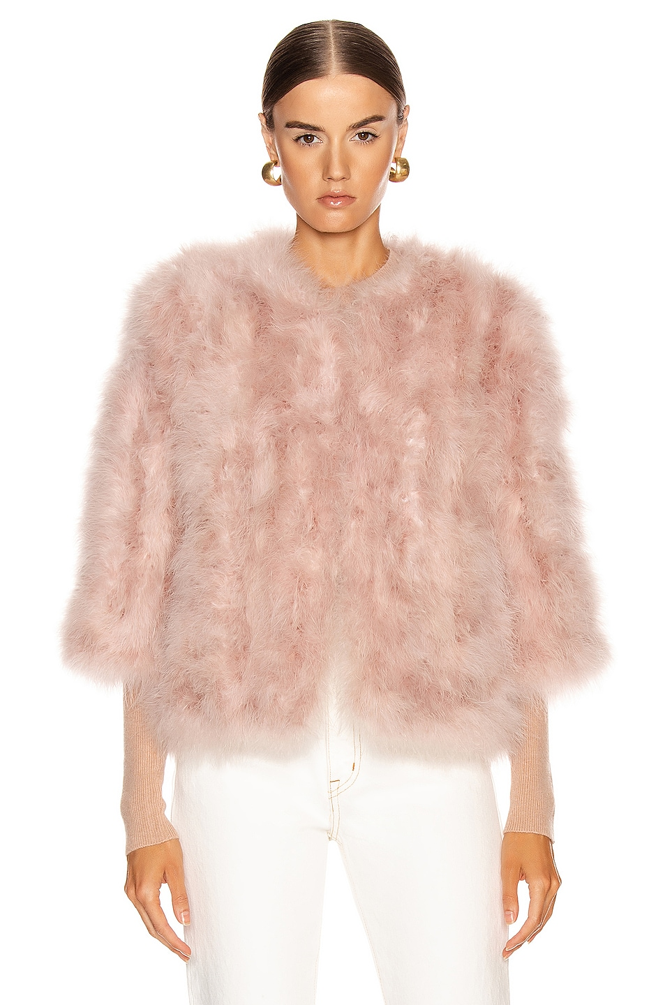 Image 2 of Yves Salomon Feather Jacket in Bouton De Rose