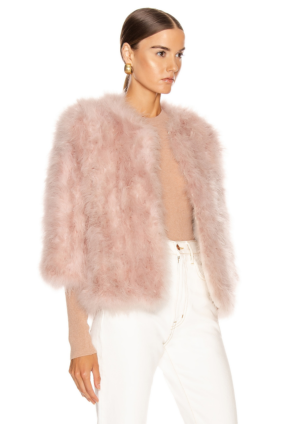 Image 3 of Yves Salomon Feather Jacket in Bouton De Rose