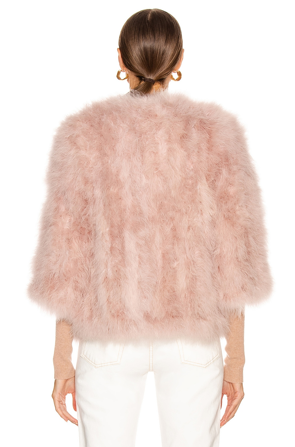 Image 4 of Yves Salomon Feather Jacket in Bouton De Rose
