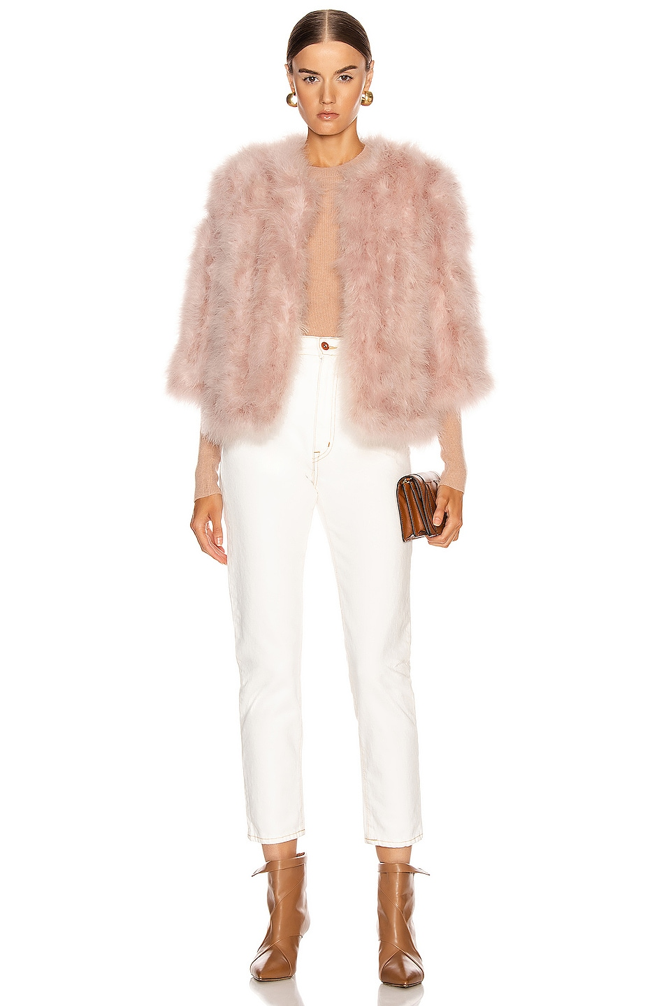 Image 5 of Yves Salomon Feather Jacket in Bouton De Rose