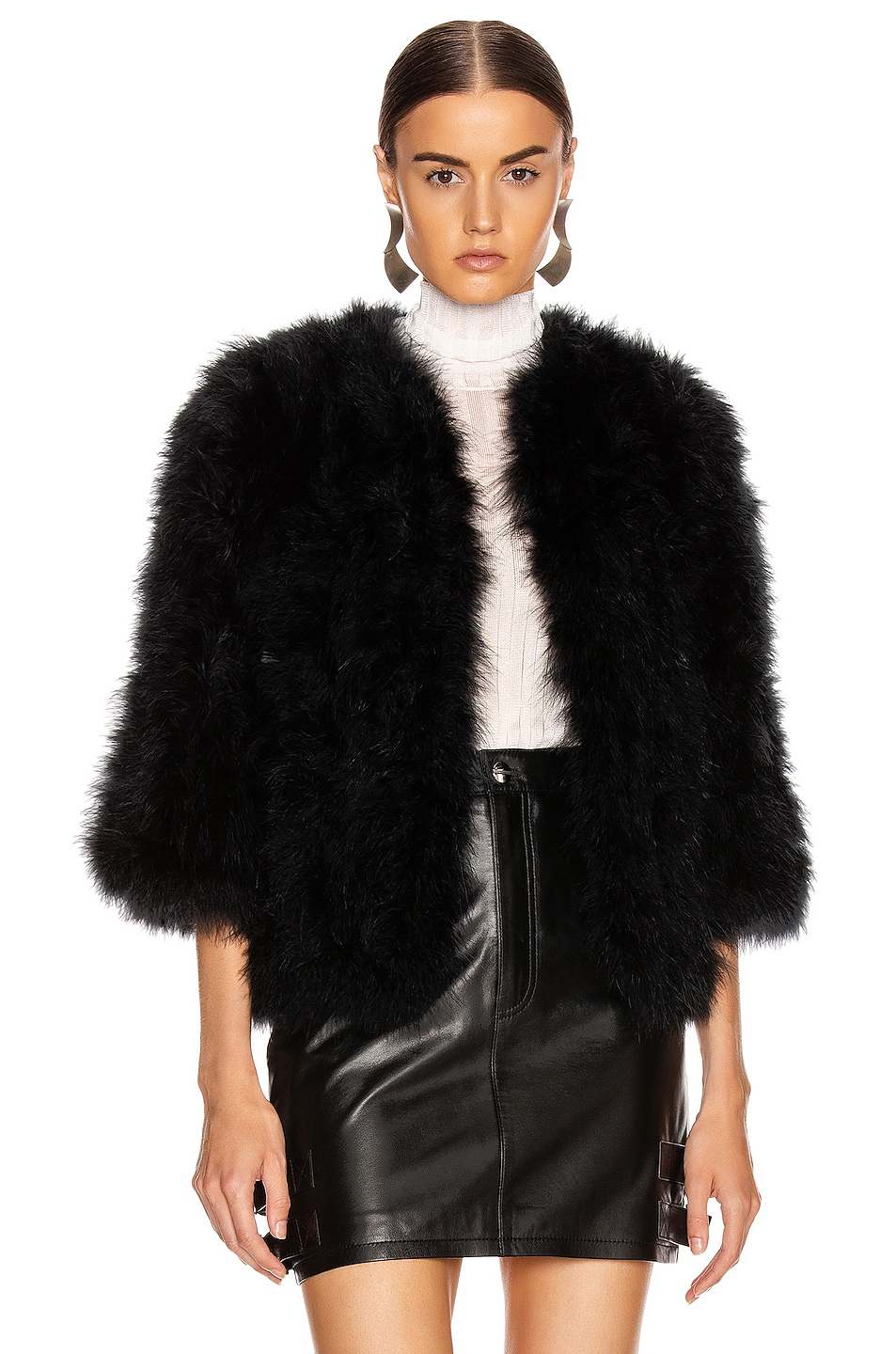 Image 1 of Yves Salomon Feather Jacket in Noir