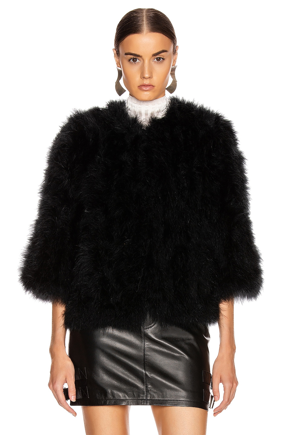 Image 2 of Yves Salomon Feather Jacket in Noir