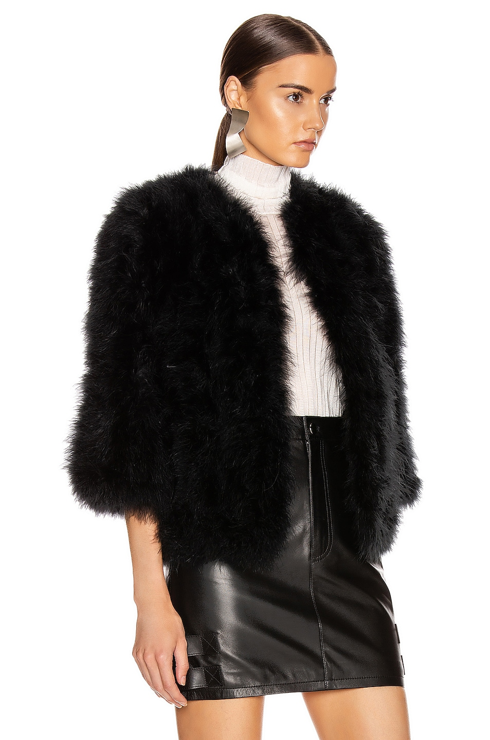 Image 3 of Yves Salomon Feather Jacket in Noir