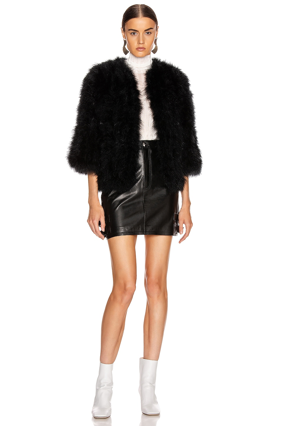 Image 5 of Yves Salomon Feather Jacket in Noir