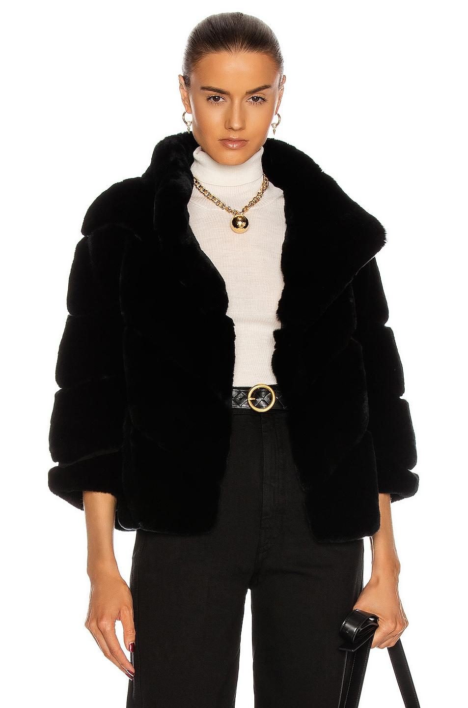 Image 1 of Yves Salomon Rex Rabbit Band Jacket in Noir