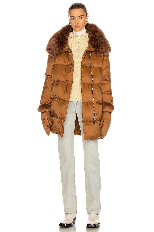 Image 1 of Yves Salomon Puffer Coat in Caramel