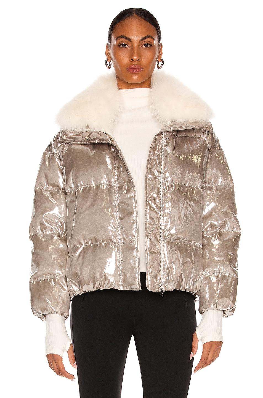 Image 1 of Yves Salomon Fox Collar Puffer Jacket in Metallic Grey