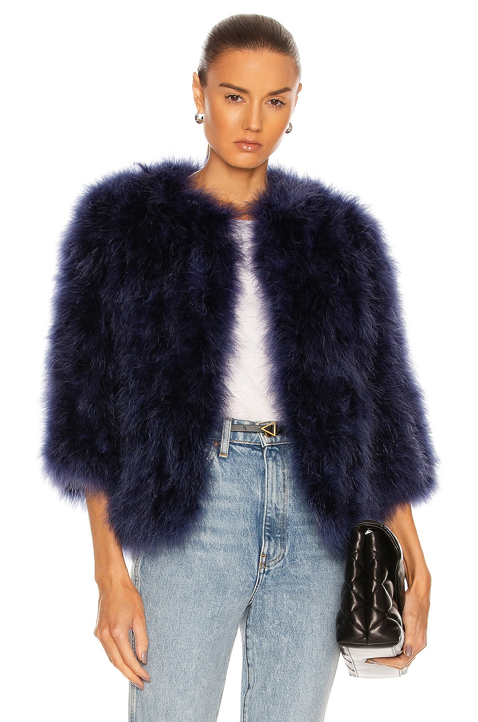 Image 1 of Yves Salomon Feather Cropped Jacket in Crepuscule