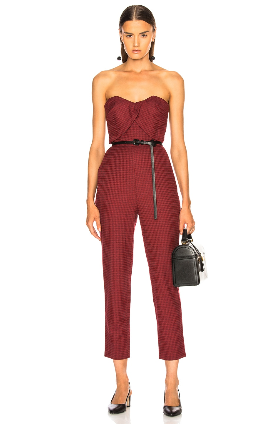 Image 1 of Zeynep Arcay Plaid Wool Jumpsuit in Red