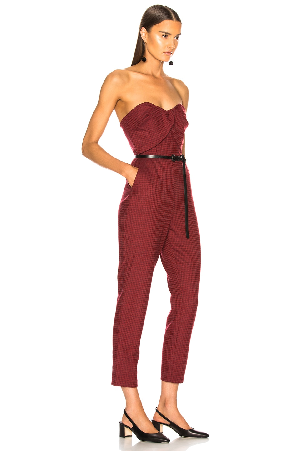 Image 2 of Zeynep Arcay Plaid Wool Jumpsuit in Red