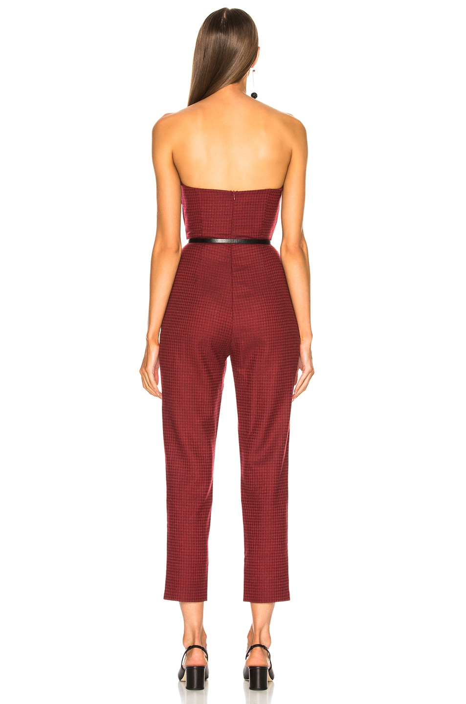 Image 3 of Zeynep Arcay Plaid Wool Jumpsuit in Red