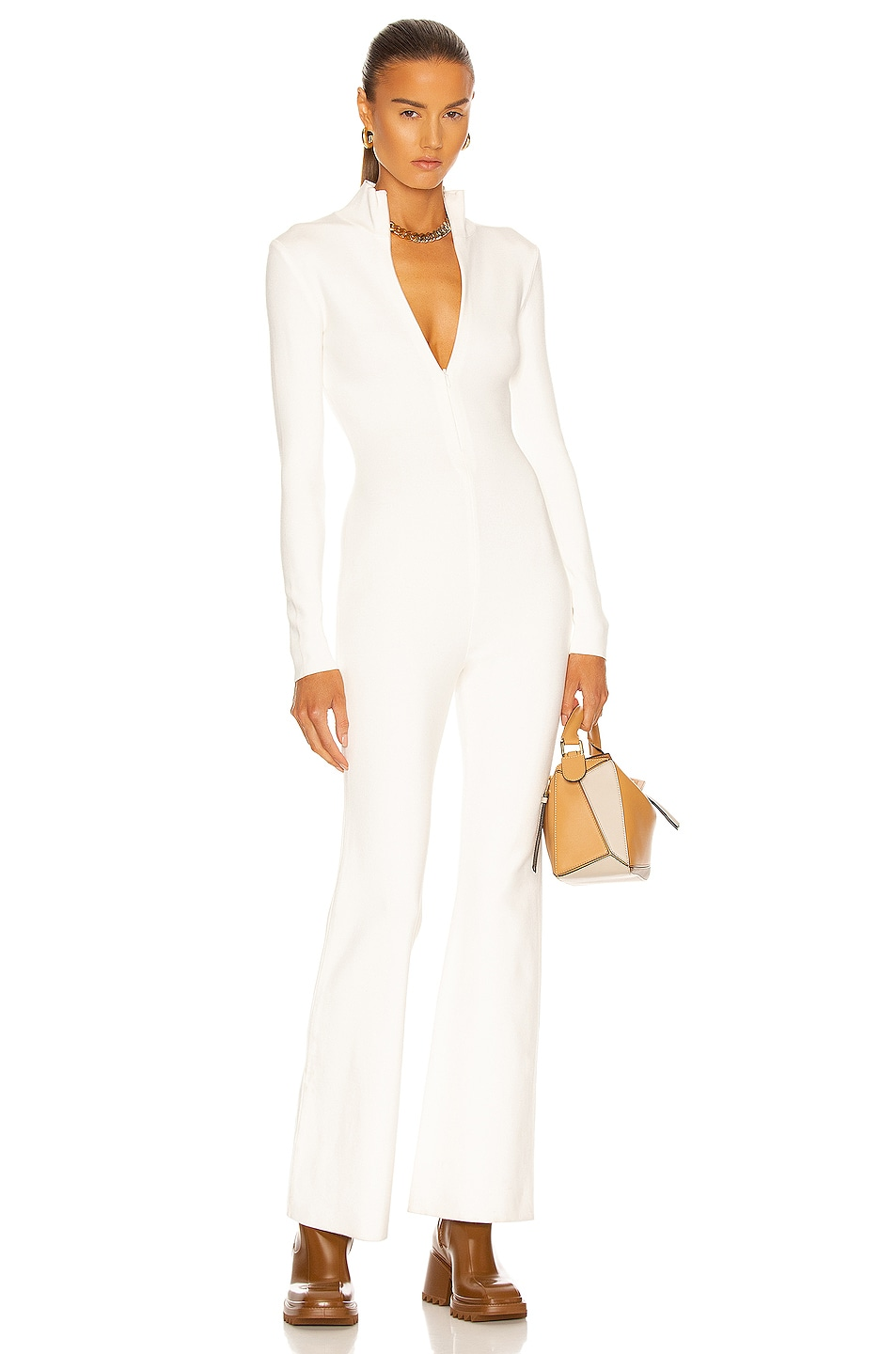 Image 1 of Zeynep Arcay Knit Flare Catsuit in White