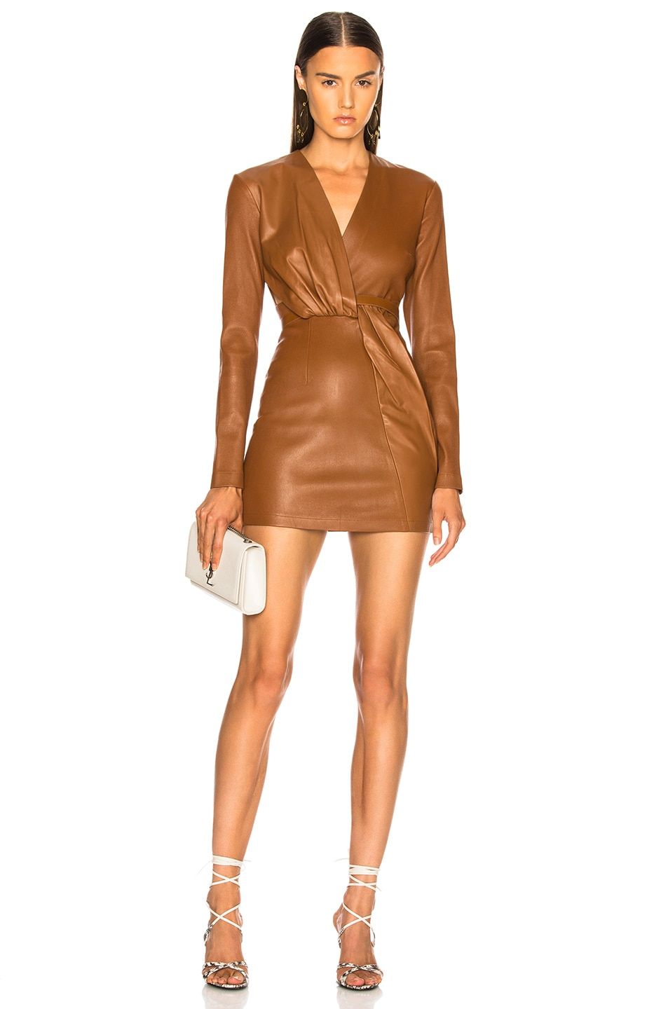 Image 1 of Zeynep Arcay Belted Leather Mini Dress in Tobacco