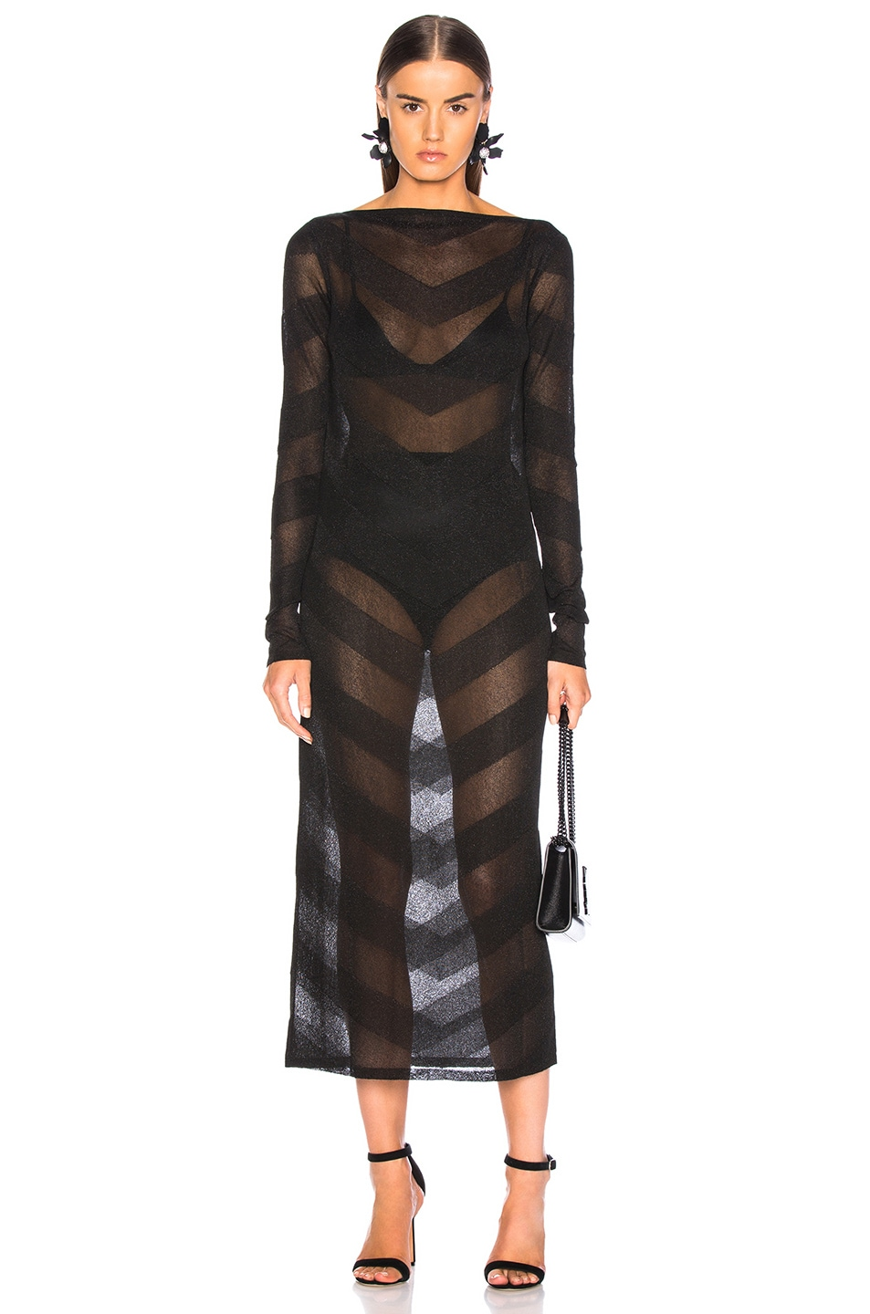 Image 2 of Zeynep Arcay for FWRD Knit V Dress in Black & Black