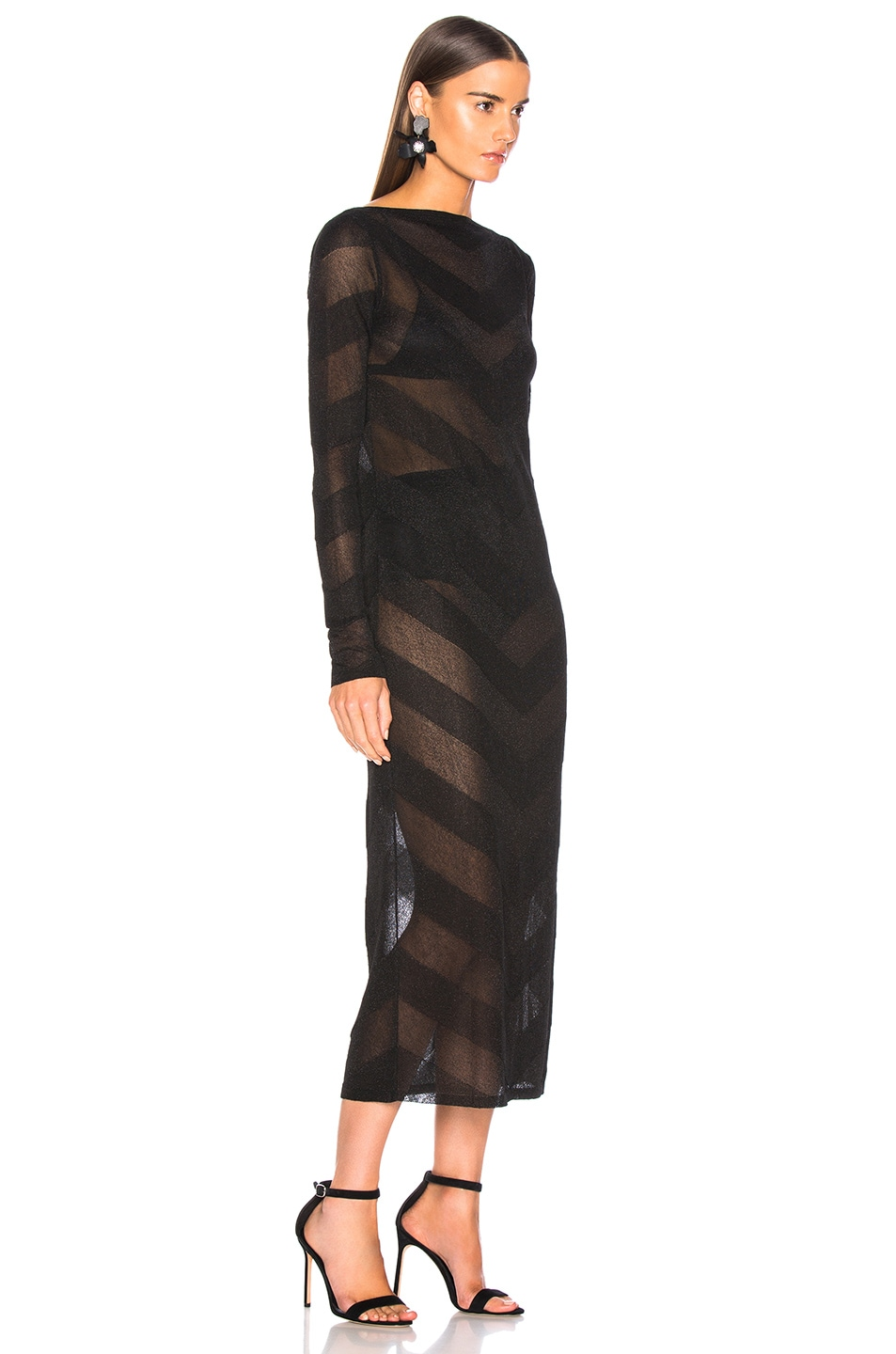 Image 3 of Zeynep Arcay for FWRD Knit V Dress in Black & Black