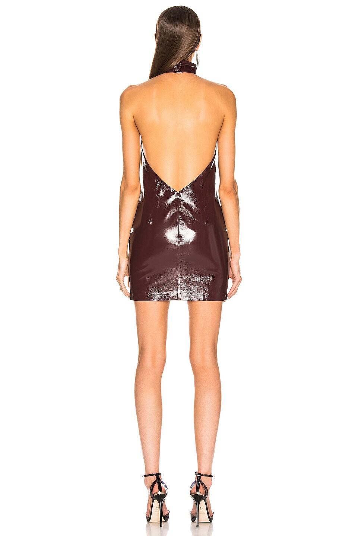 Image 3 of Zeynep Arcay Mini Patent Leather Halter Dress in Purple